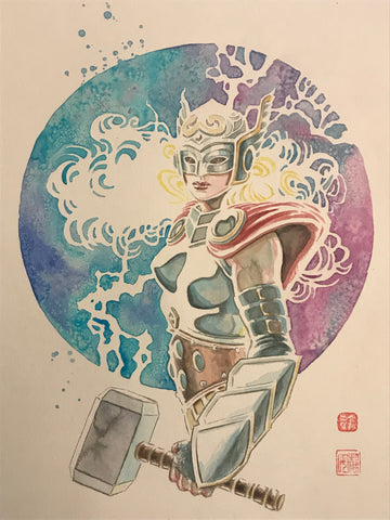 David Mack Original Art Lady Thor Illustration