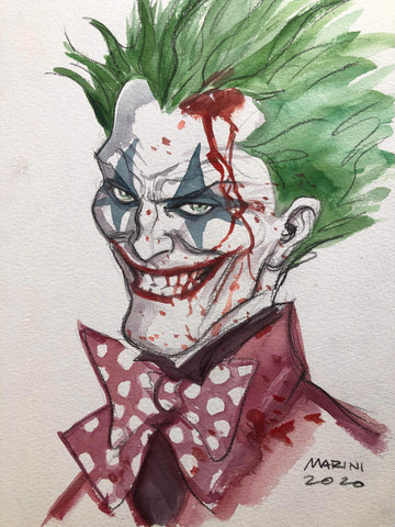 Enrico Marini Original Art Bloody Joker Portrait Illustration