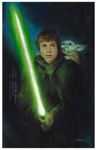 Casey Parsons Original Art 'A New Hope' Luke & Baby Yoda Illustration