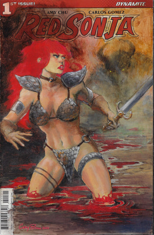 Casey Parsons Original Art Red Sonja Blank Cover
