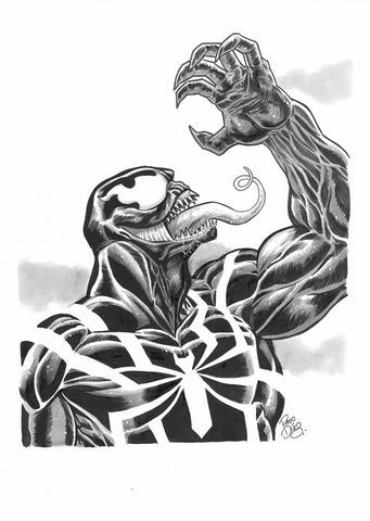 Paco Diaz Original Art Venom Sketch Illustration