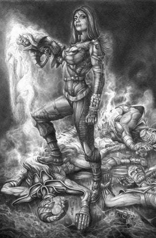 Pepe Valencia Original Art Marvel Skrulls Graphite Illustration