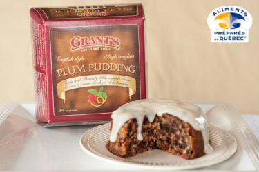 Plum pudding with sauce