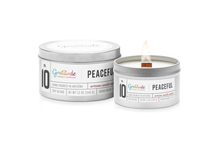 NO. 10 PEACEFUL Wooden Wick Soy Blend Candle