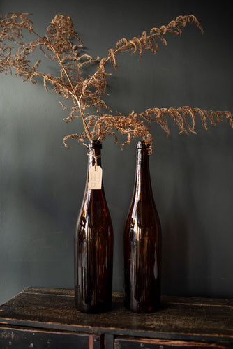 Pair of Extra Large Brown Glass Bottles