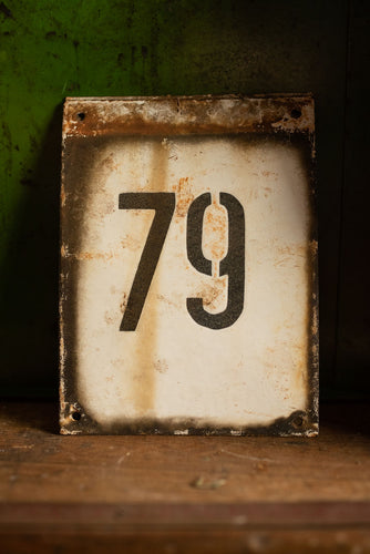 Industrial Enamel House Number 79