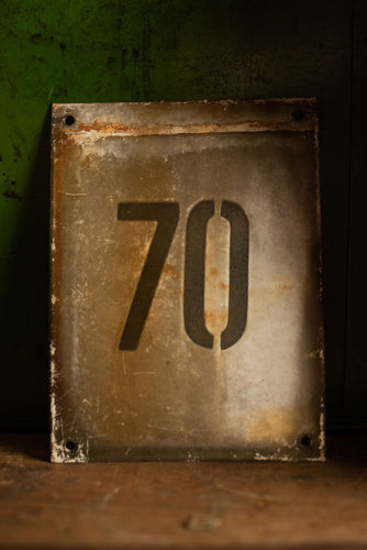Industrial Enamel House Number 70