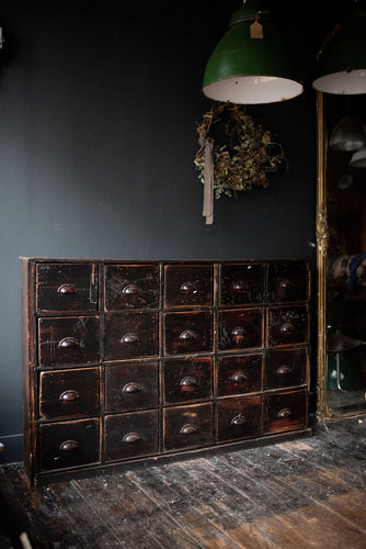 Bank of Antique Haberdashery Drawers