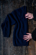 Load image into Gallery viewer, Navy Blue V neck Cashmere Sweater