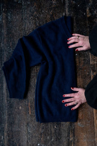 Navy Blue V neck Cashmere Sweater