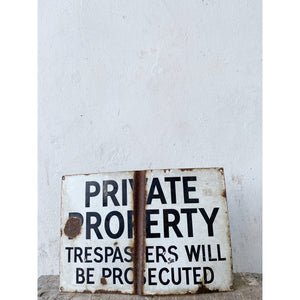 Private Property Enamel Sign