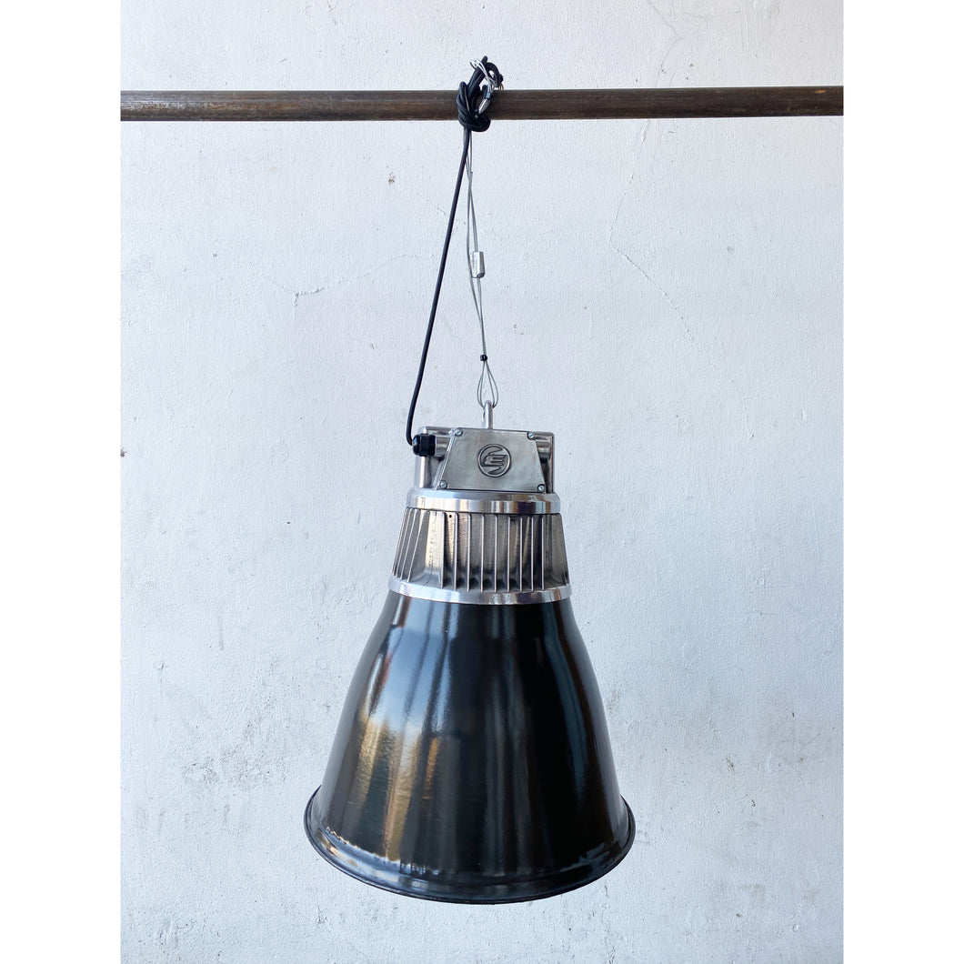 Large Black Enamel & Aluminium Factory Pendant Light