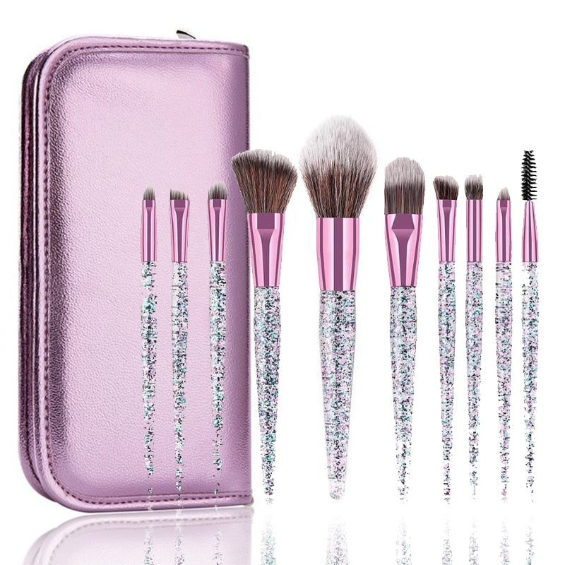 10pcs Rhinestone Crystal Glitter Makeup Brushes Set