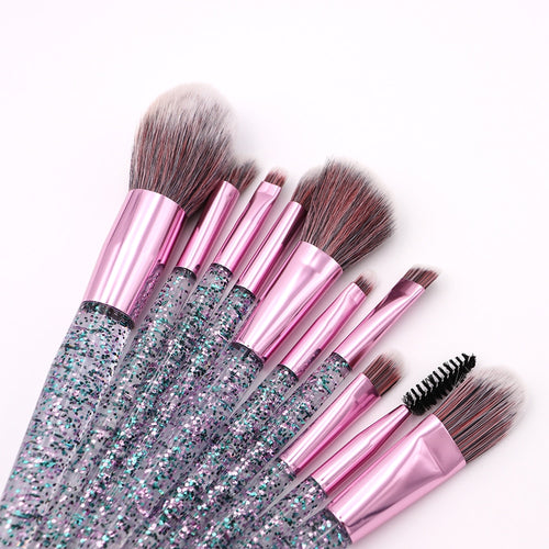 10-Piece Crystal Glitter Pro Make-Up Brushes