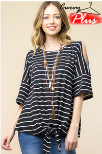 STRIPED OPEN SLEEVE TOP WITH WAIST TIE