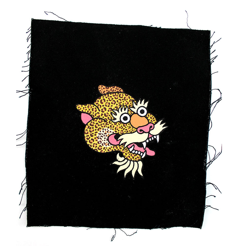 'Leopard Head' hand painted Patch