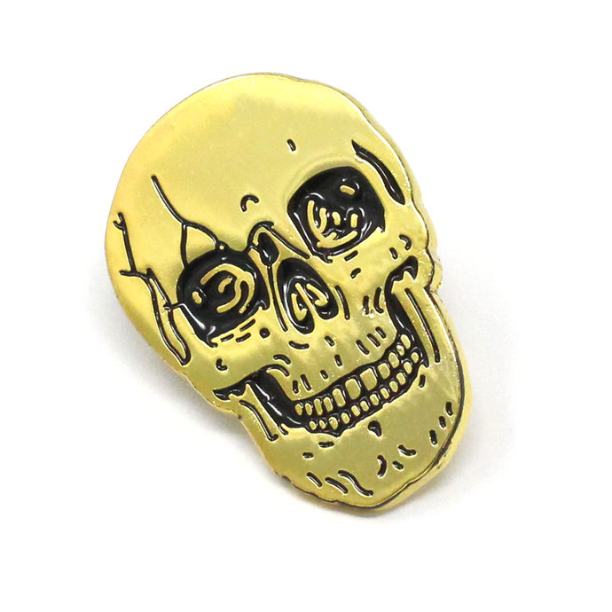 Ball and Chain Co. Gold Skull Lapel Pin