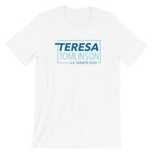 Load image into Gallery viewer, Teresa Tomlinson Logo Tee (White, Grey and Blue)