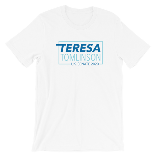Teresa Tomlinson Logo Tee (White, Grey and Blue)