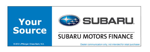 Subaru Motors Finance Your Source Chase Decal