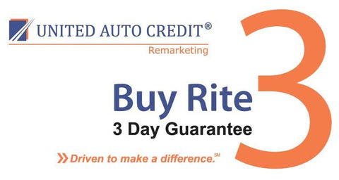 United Auto Credit Remarketing 3 Day Guarantee Decal