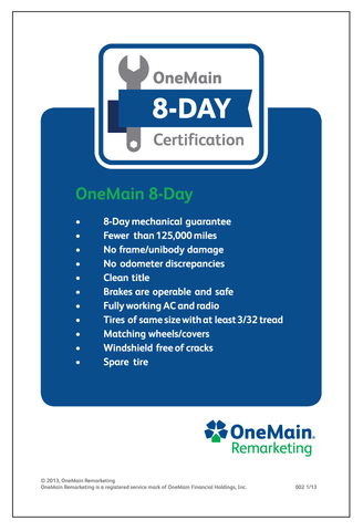OneMain Remarketing 8 Day Certified Decal
