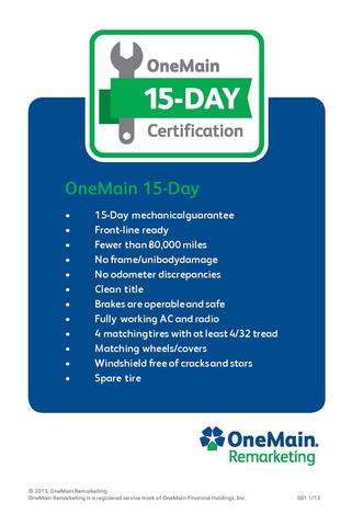 OneMain Remarketing 15 Day Certified Decal