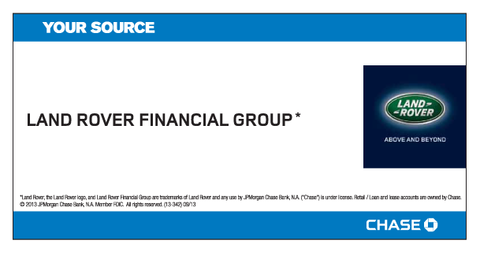 Land Rover Financial Group Your Source Chase Decal