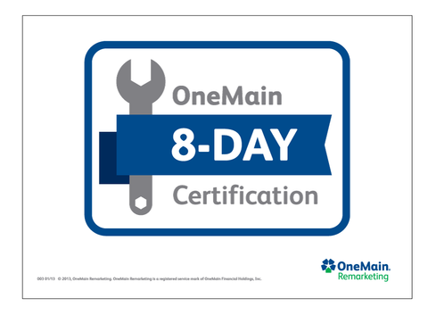 OneMain Remarketing 8 Day Certified Topper