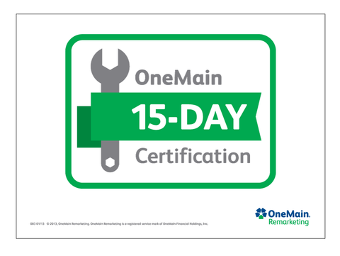 OneMain Remarketing 15 Day Certified Topper