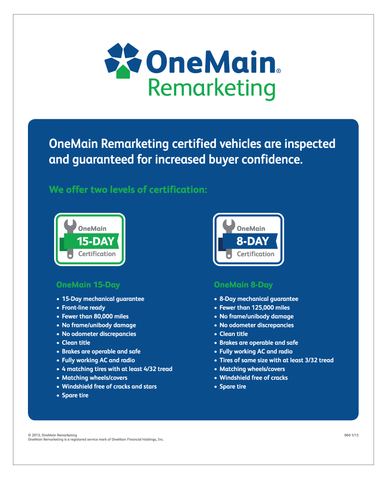 "OneMain Remarketing Certified Poster - 24"" x 30"""