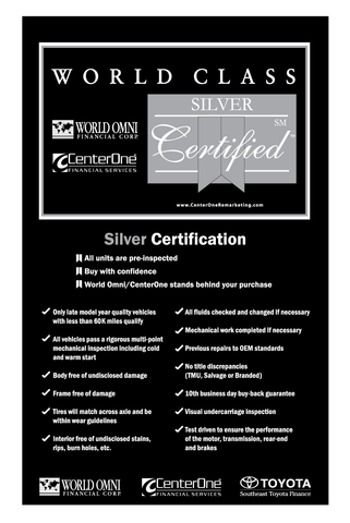 World Omni Silver Certification Banner