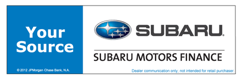 Subaru Motors Finance Your Source Chase Banner
