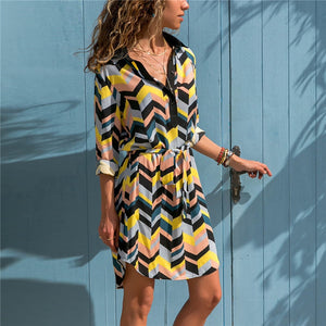 The Best 2019 Long Sleeve Shirt Dress 2019 For Women Casual Striped Print A-line Mini Party Dress - we the online store- The best Shoes & Clothing Store