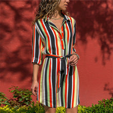 Load image into Gallery viewer, The Best 2019 Long Sleeve Shirt Dress 2019 For Women Casual Striped Print A-line Mini Party Dress - we the online store- The best Shoes & Clothing Store