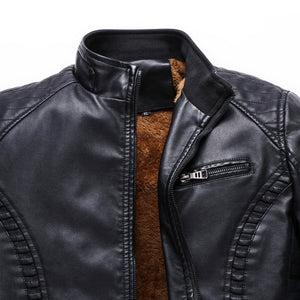 The Best 2018 New Men Motorcycle Keep warm Winter Leather jackets for Men