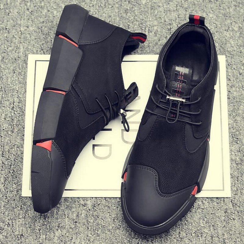 eb3495115a NEW Brand High quality all Black Men's Leather Sneakers 2019