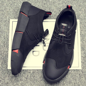 NEW Brand High quality all Black Men's Leather Sneakers 2019