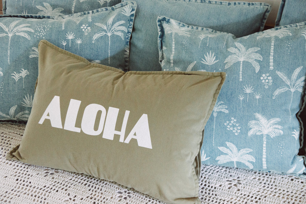 dream aloha cushion | vintage khaki
