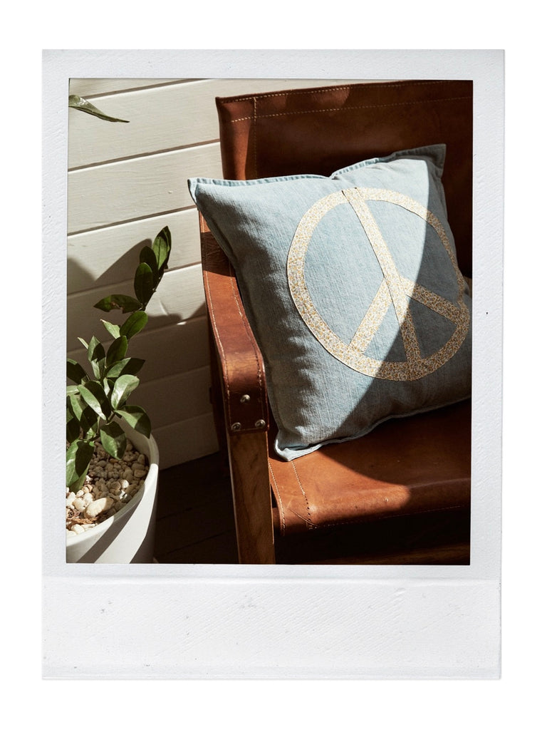 give peace a chance cushion | ditsy denim
