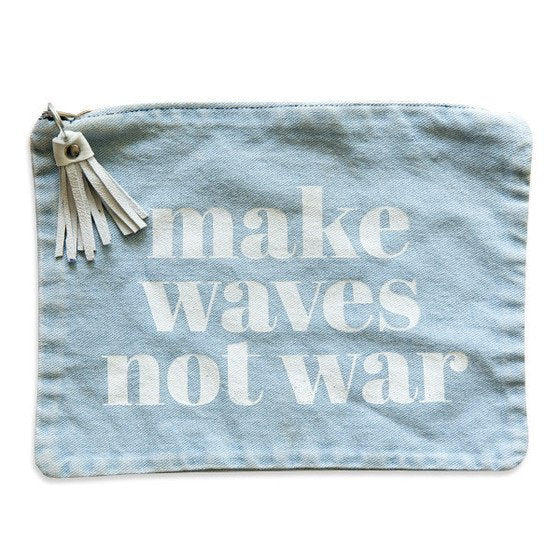 make waves not war pouch | denim