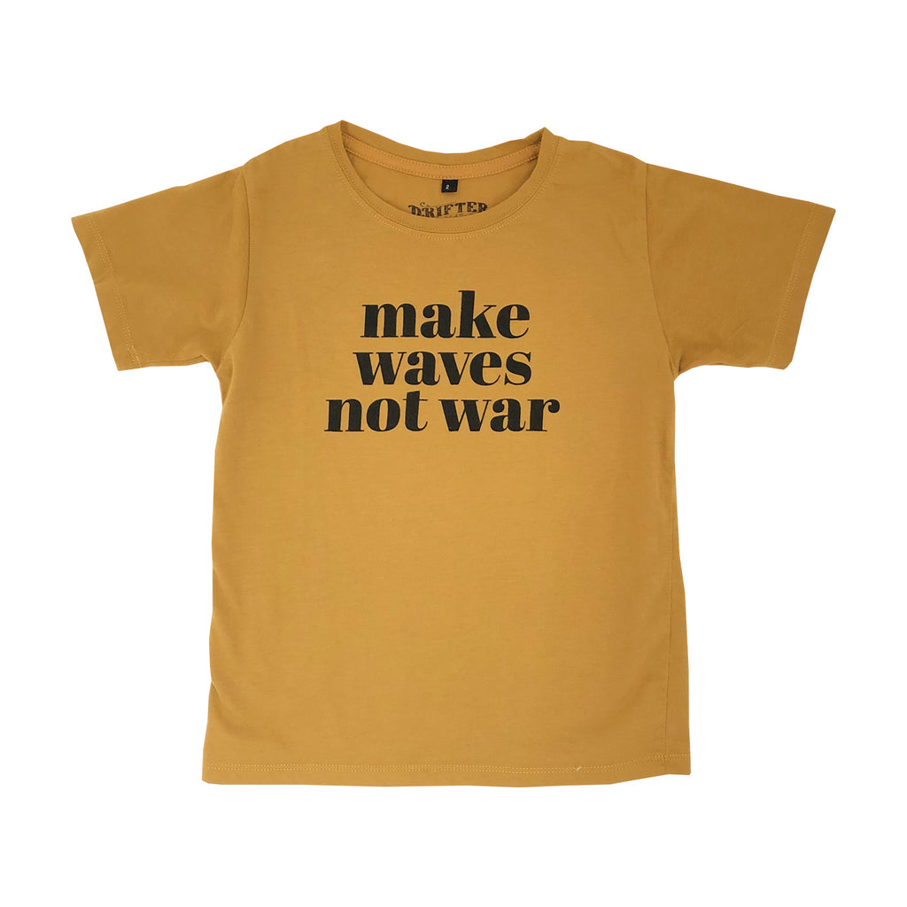 make waves not war kids tee x drifter | golden