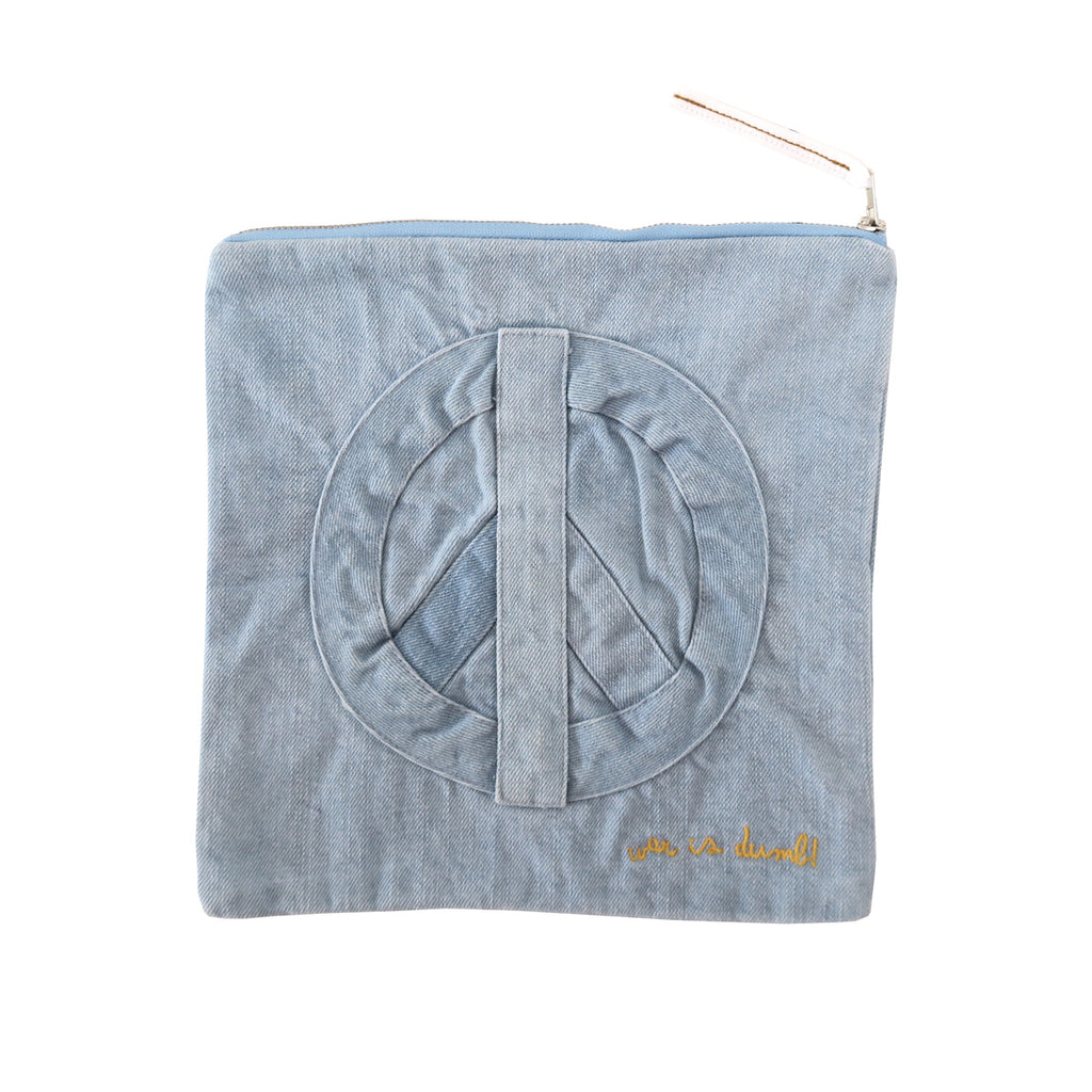 war is dumb! pouch | denim