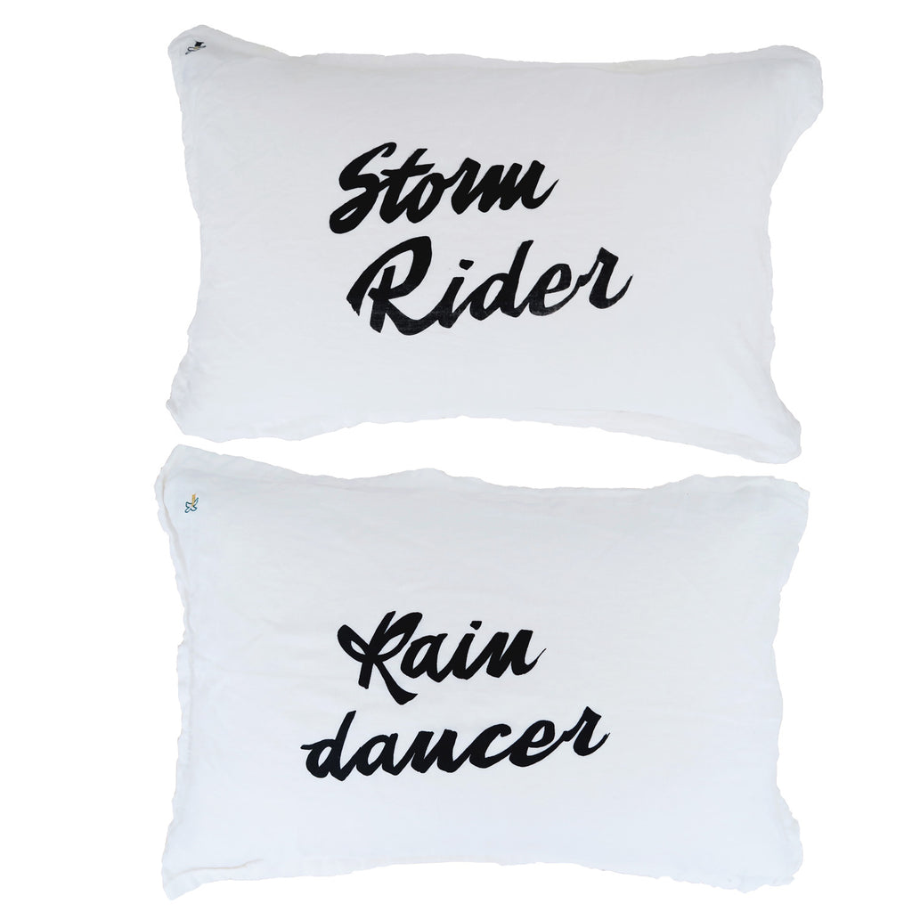 storm rider vs. rain dancer pillow pair