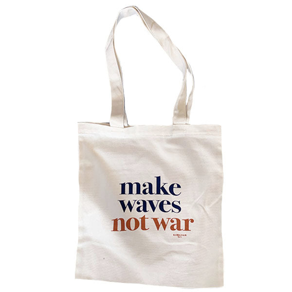 make waves not war tote | navy + caramel