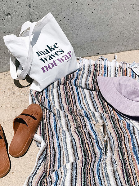 make waves not war tote | forest + lilac