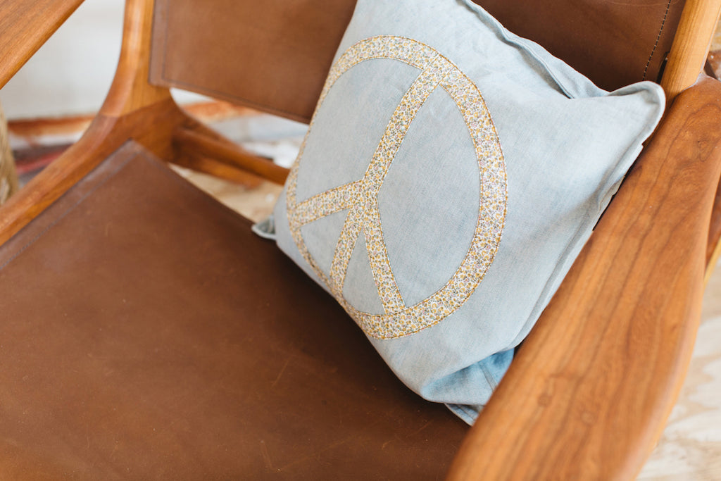 give peace a chance cushion | ditsy denim *new*