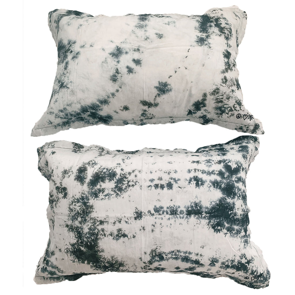 peace, love + palms pillow pair | black sea