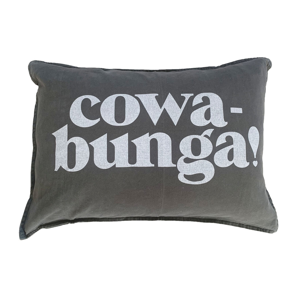 cowabunga heart cushion| black fade