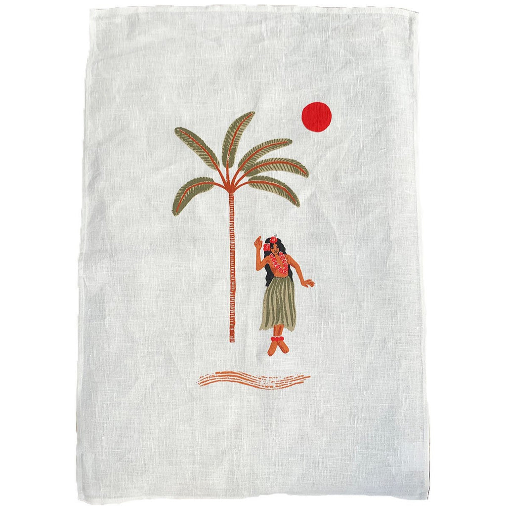 hula betty linen art print | washed white